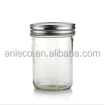 Eco Clear 8 oz Glass Mason Jar with Silver Metal Lid For Food