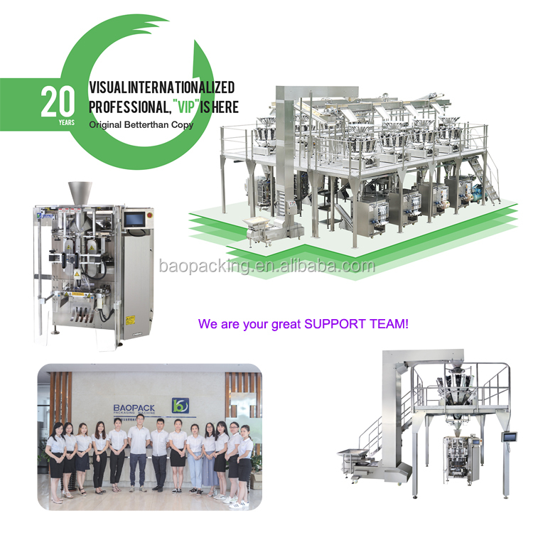 Baopack VP42 Potato chips cornflakes auto packing production line with Carton Erector, Carton Sealer
