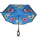 double layer inverted umbrella with rubber C handle umbrella