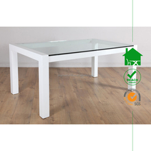 DT-2006 Modern Glass Top Wooden Frame Dining Table