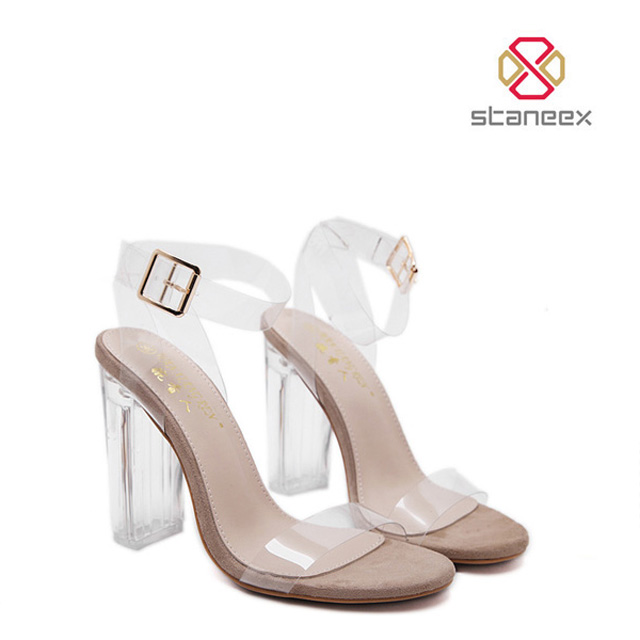 European Style Diamond Crystal High Heel Shoes With Buckle Transparent Ladies Beautiful High Heel <strong>Sandals</strong>