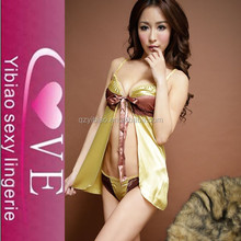 In Stock Sleepwear Japanese Hot Girl Golden Lace Sexy Babydoll Lingerie Image