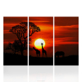 4 Pieces Sunset Scenery Giraffe Animal Canvas Prints Big Black Tree Oil Painting Prints for Bedroom/AL10313