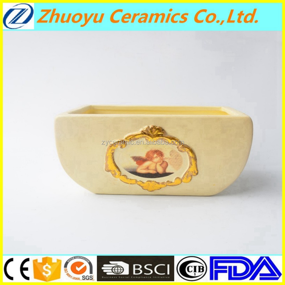 Beige Rectangle Ceramic Small Bonsai Pot