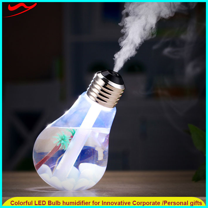 Colorful LED Bulb humidifier / usb ultrasonic mini personal humidifier coolest gadget 2016