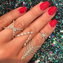 2018 new design elegant women finger rings jewelry pave cz LONG spike CROSS x full finger ring for women