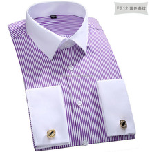 Europe french cuff noble business dress shirt for men