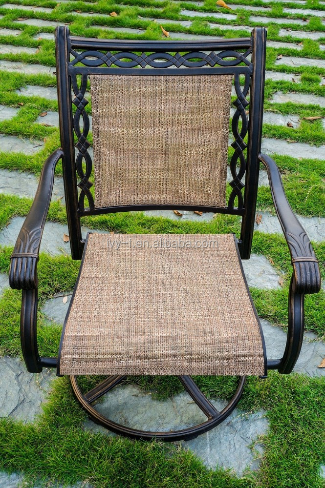 swivel grid cast aluminum chair in metal materialwith sling fabric general in bar and garden use