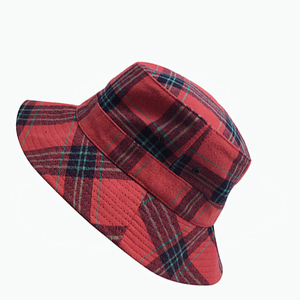 High quality custom women sun striped mexico bucket hat in plaid pattern