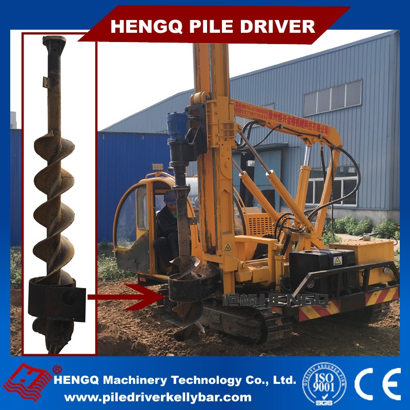 hydraulic static pile driver for ground screwing bolts