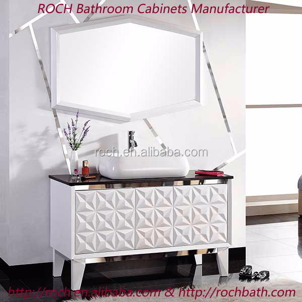 ROCH 8005 Plywood Carcase Material And Modern Style Bathroom Floor Cabinet