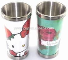 plastic acrylic tumbler with removable insert paper,paper changeable plastic coffee cup