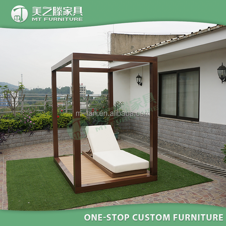 Modern home hotel garden PE rattan outdoor sunbed with canopy