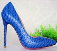 amazing sexy blue snake skin fashion high heels shoes red/pink/gold bottom women shoes real factory photos pumps