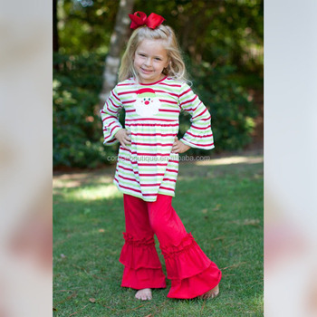 Western design stripe print Baby Girls boutique outfits for wholesale