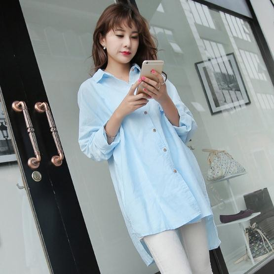 New Design Short Front Long Back Model Tops Light Blue Uniform Blouses