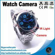 Fashion design Sound Activate Digital HD 1080P metal Wrist Watch Camera with night vision 4gb 8gb memory for choice