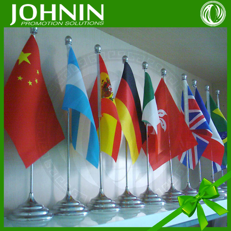 zhejiang supplier custom printing desk flag with metal pole and base