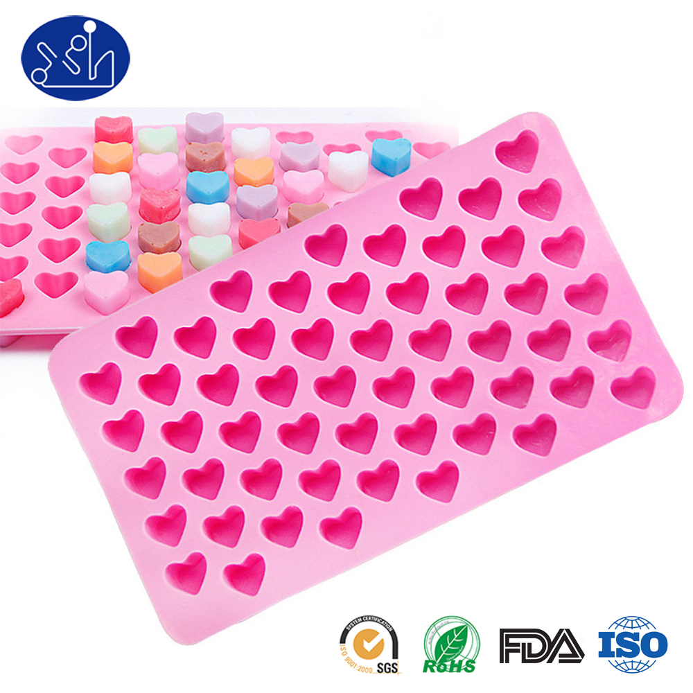 Custom design personalized pink Heart-shaped silicone ice cube tray for chocolate