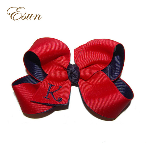 Best Large Initial 2 Color Grosgrain School Uniform Embroidered Girl bow