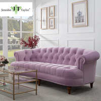 Upholstered Wooden Velvet Three Seat Tufted