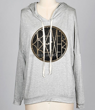 WOMEN LONG SLEEVE JERSEY HOODIE WITH METALLIC DETAIL FACTORY MADE IN CHINA