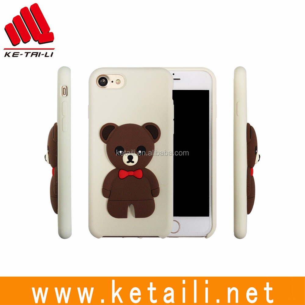 For Apple iPhone 7 original style OEM 3d bear dolls silicone plastic mobile phone cellphone case cover manufacturer