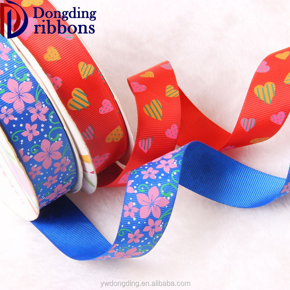 OEM factory custom celebrate it ribbon ,colorful flower heat transfer printed grosgrain ribbon webbing tape
