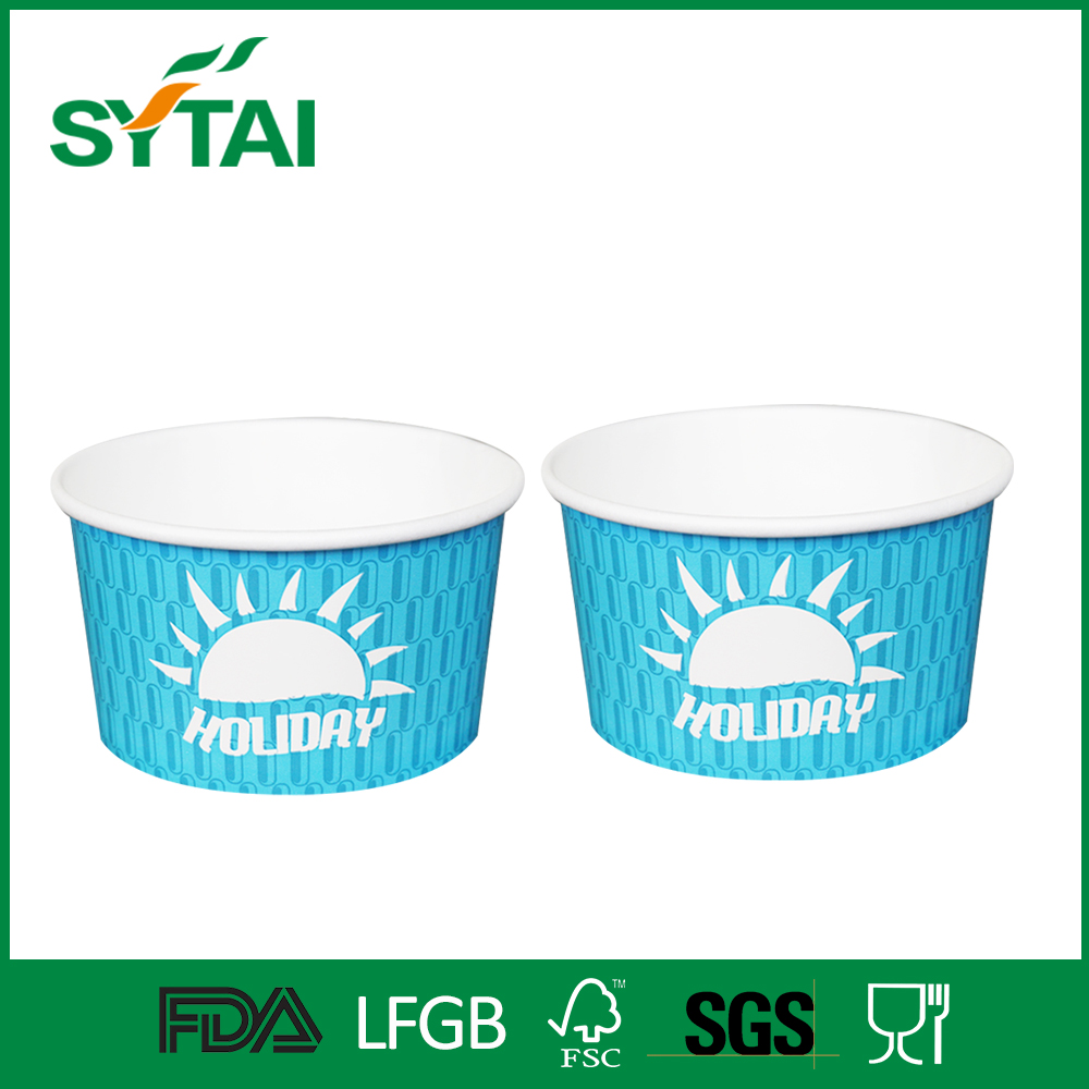 Various sizes custom logo printed double PE coated ice cream/frozen yoghurt paper cups and lid