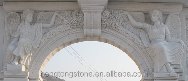 Decorative White Marble Stone Arch Door Surround with Figure Design