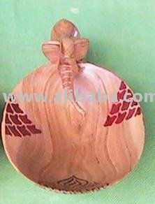 African wooden bowl with a drinking animal