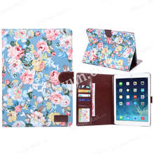 flower design belt clip holder wallet leather cover case for apple tablet iPad air 2