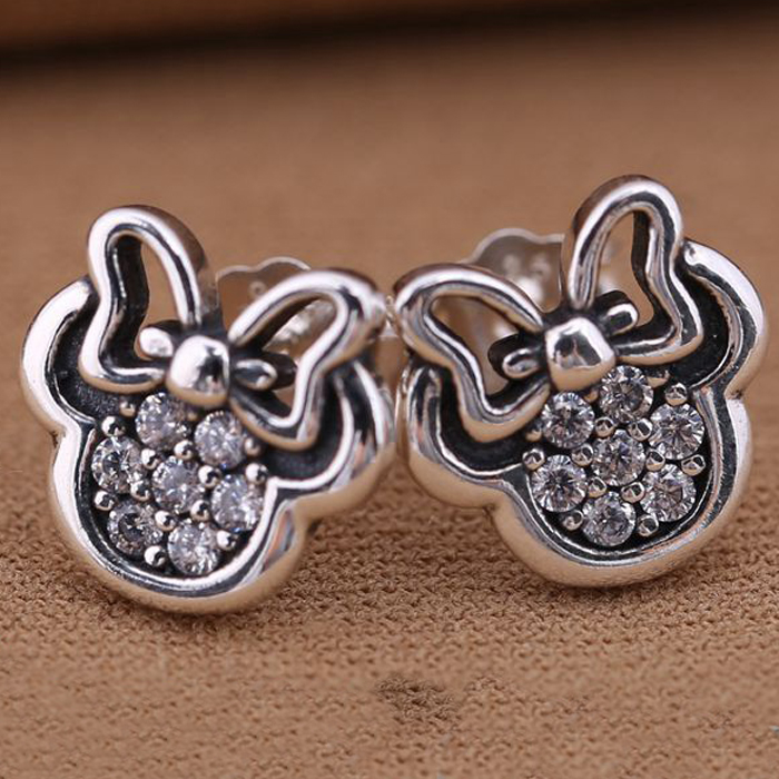 Hot Selling Minnie Mouse silver stud earrings with White cubic zirconia Sterling S925 Silver Earing Ear Stud for European Style