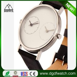 leather strap double small dial two time zone watches