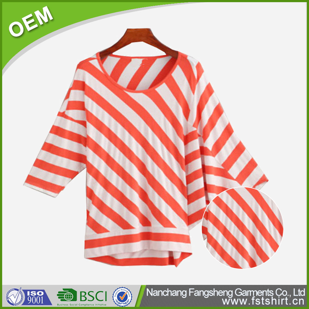 Simple popular casual o-neck cotton long sleeve red white striped women loose t shirt