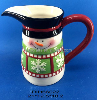 2017 Christmas decorative ceramic snowman water pitcher