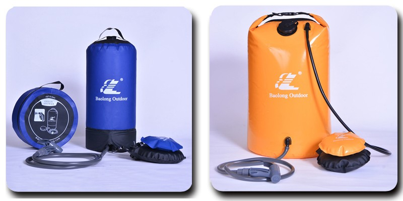 PW1027 TPU material outdoor camping and sport solar shower bag shower kit manufacturer in Zhejiang Hangzhou