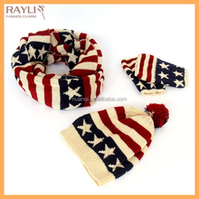 2016 newest national flag jacquard pattern knitted winter scarf gloves and hat set, fashionable knit gloves hat and scarf set