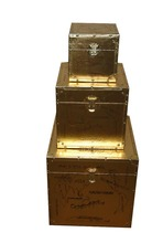Wholesale golden set of 3 wooden storage trunk with drawers