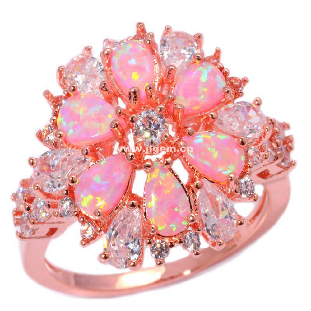 Pink Fire Opal White Cubic Zirconia Rose Gold Plated Ring Wholesale Retail for Women Jewelry Ring Size 5-13