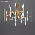 MEEROSEE Nordic Fashion Metal Lighting Modern Pendant Lamp Acrylic Bamboo Hanging Light Hotel Bar Chandelier MD85514