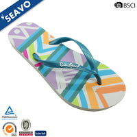 SEAVO 2016 cutsom sublimation printed cheap pe sole colorful ladies flip flops