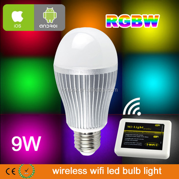 16million RGBW wifi bulb 9W Mi light E27 LED bulb AC86-264V color wifi led bulb