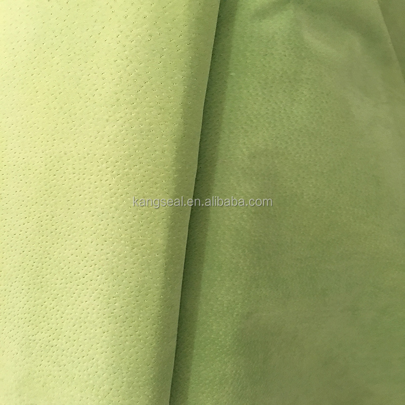 Yellow green pig split leather, pig split leather for shoes lining, gloves, garment etc