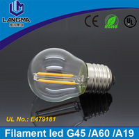 energy saving 360 degree lighting clear glass G45 E27 bulb light lamp AC220V led filament E27 dimmable 2W 4W bulb