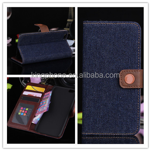 Fashion and personality, denim cloth wallet leather phone case for iphone6