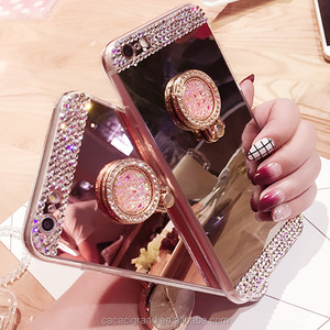 For iPhone 7 Plus 6 6S 5S Case Luxury Women Diamond Glitter Bling Mirror Cover With 360 Phone Ring Stand Soft Case for iphone 7