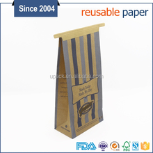 Custom printed kraft paper bag for dried food packaging recyclyed resealable paper bag