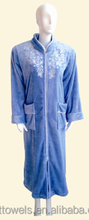High quality lady's zipper style embroidery flannel robe