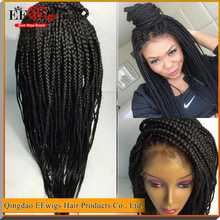 wholesale african braided wig boxes,glueless synthetic wig,heat resistant synthetic lace front wig